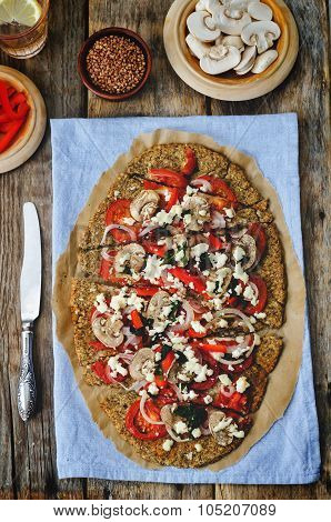Buckwheat Chia Seed Pizza Crust With Mushrooms, Tomato, Basil And Cheese