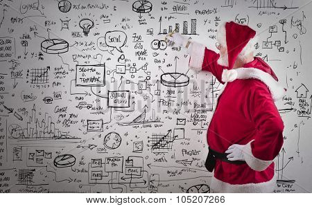 Santa Claus writing schemes on a wall