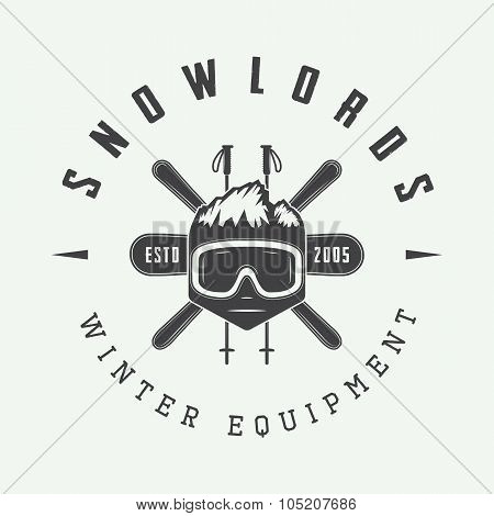Vintage Winter Sports Logo, Badge, Emblem And Design Elements.