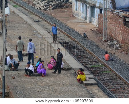Crowd On Platforms At The Railway Station