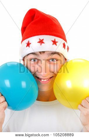 Happy Teenager With Two Balloons