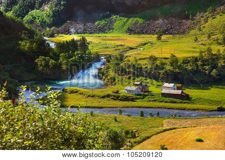 Village in Flam - Norway - nature and travel background