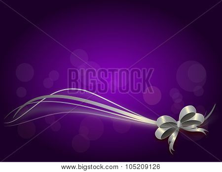 Purple Christmas Background With Silver Ribbon