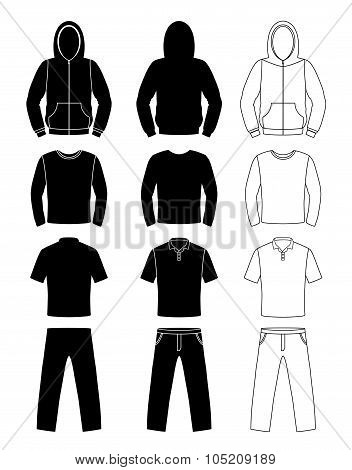 Clothing Silhouettes, Hoodie, T-shirt And Long Sleeve, Pants