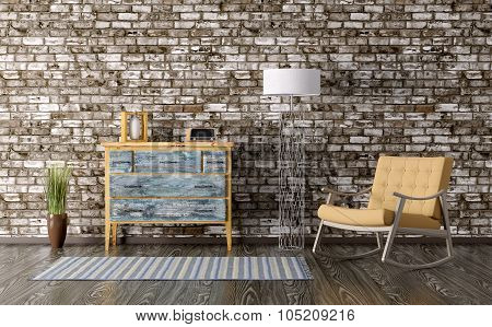 Interior With Chest Of Drawers And Rocking Chair 3D