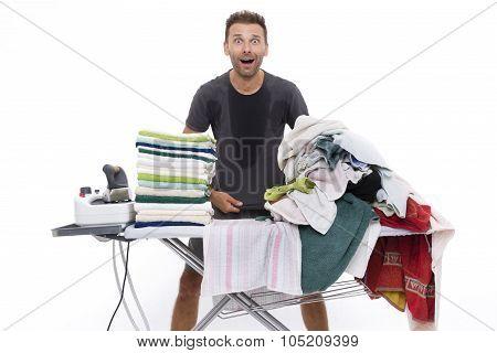 Desperate Man Behind An Ironing Board