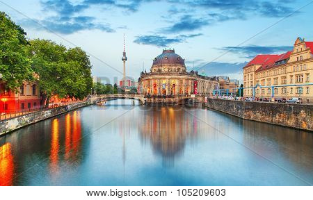 Museum Island On Spree River And Alexanderplatz Tv Tower In Center Of Berlin, Germany