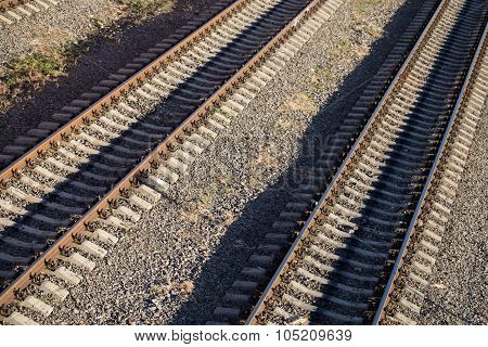 Railway tracks near train station
