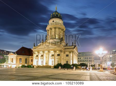 New Church (deutscher Dom Or German Cathedral) On Gendarmenmarkt In The Evening