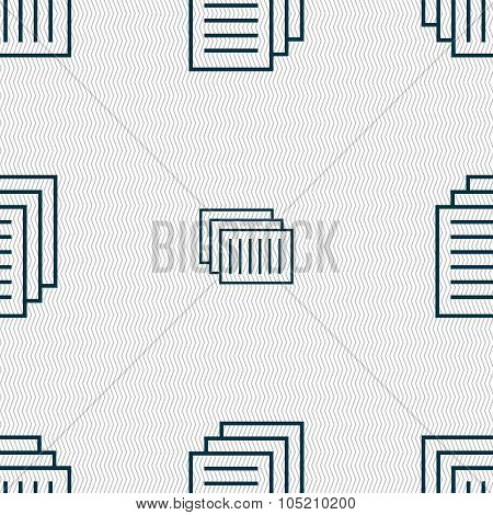Copy File Sign Icon. Duplicate Document Symbol. Seamless Abstract Background With Geometric Shapes.