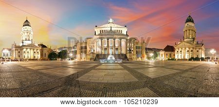 Gendarmenmarkt Berlin (gendarmen Market) Panorama, Famous Landmark In Berlin, Germany At Sunny Day W