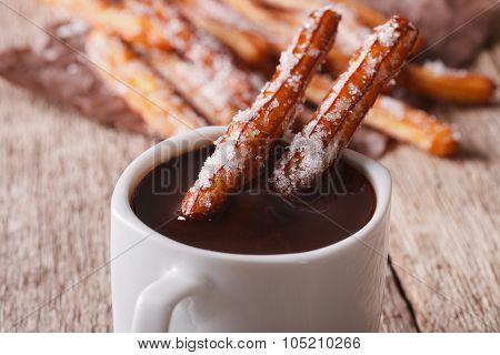 Cookies Churros And Hot Chocolate Close-up. Horizontal