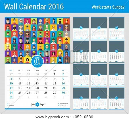 Wall Calendar For 2016 Year. Vector Stationery Design Template With Place For Photo. Week Starts Sun