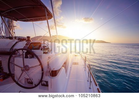 Catamaran close exterior at sunset