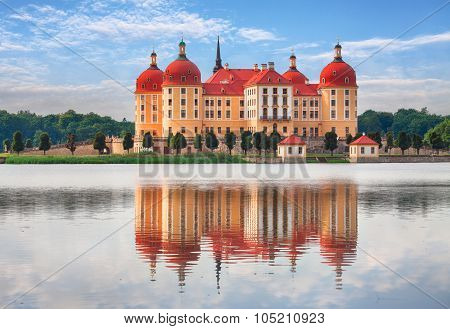 Moritzburg In Dresden With Reflection