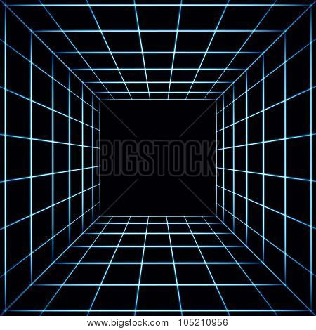 Abstract Dark Tiled Background With A Perspective Cube