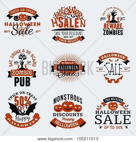 Set Of Retro Vintage Happy Halloween Badges, Stickers, Labels. Design Elements For Greetings Card Or