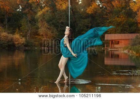 Girl Dress Fluttering In The Wind When She Dances.