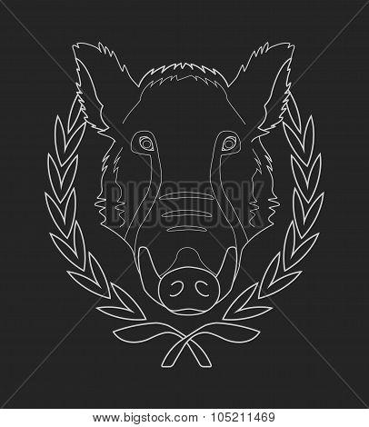 boar head in laurel wreath - contour