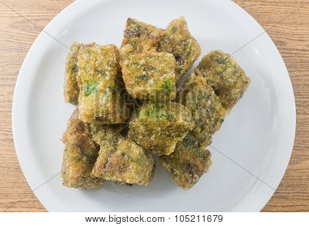 Top View Of Fried Steamed Dumpling Made Of Garlic Chives