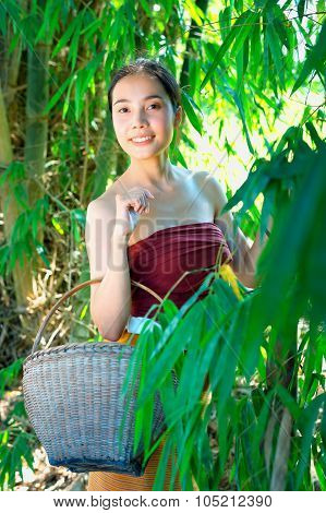 Asia Ancient Young Woman With Basket On Nature