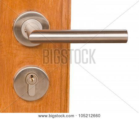Lock And Door Handle On Brown Wooden Door