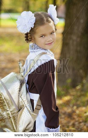 Portrait of a beautiful young first-grader in a festive school uniform on the background autumn park