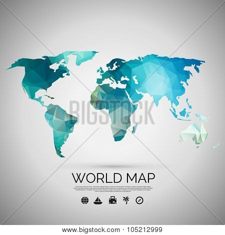 World map background in polygonal style.