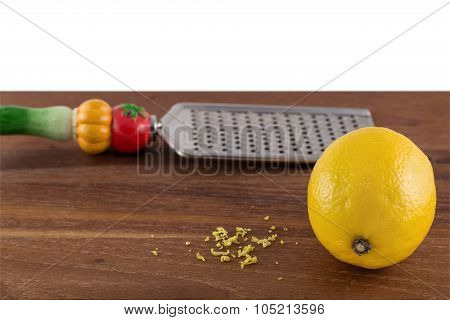 Lemon with zest and grater