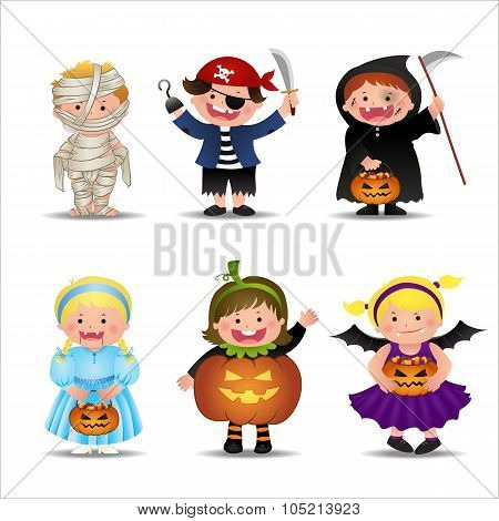 Cartoon Cute Halloween Kids  In Trick Or Treat Costumes