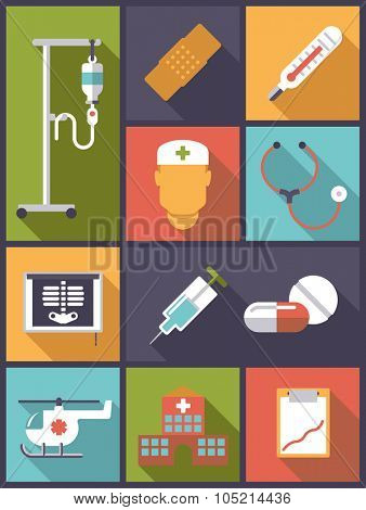 Medical and health care icons vector illustration. Vertical flat design illustration with various medical and health care related icons