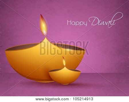 Indian Festival of Lights, Happy Diwali celebration with illuminated lit lamps on glossy purple background.
