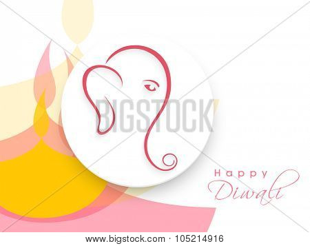 Creative sticky design with Hindu Mythological Lord Ganesha for Indian Festival of Lights, Happy Diwali celebration.