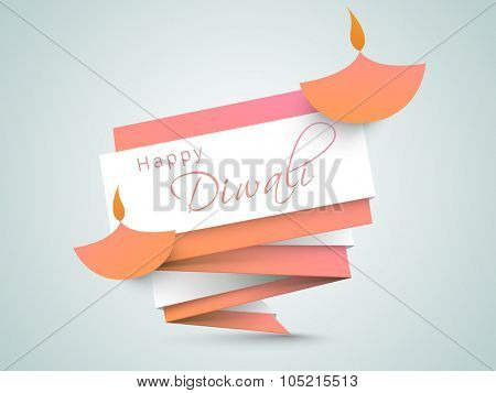 Creative stylish tag with illuminated lit lamps on glossy background for Indian Festival of Lights, Happy Diwali celebration.