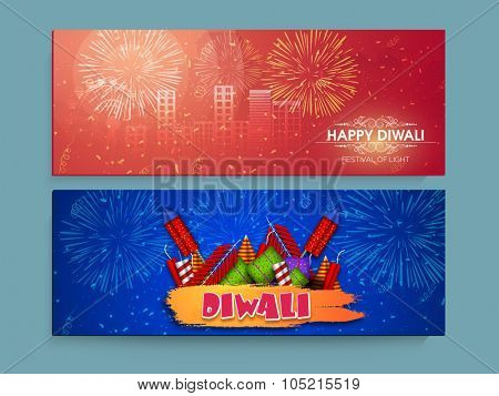 Glossy creative website header or banner set with colourful firecrackers for Indian Festival of Lights, Happy Diwali celebration.