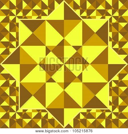 Golden Pattern Of Geometric Shapes Of Triangles.