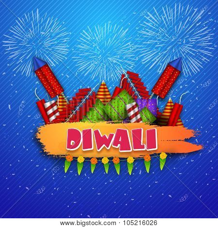 Indian Festival of Lights, Happy Diwali celebration with colourful glossy firecrackers on blue fireworks background.