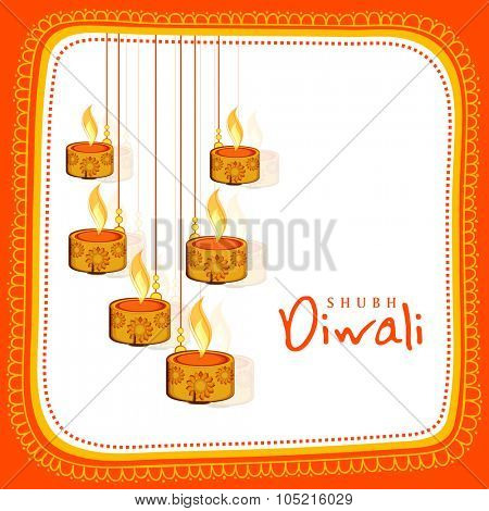 Floral design decorated greeting card with illuminated hanging lit lamps for Indian Festival of Lights, Happy Diwali celebration.
