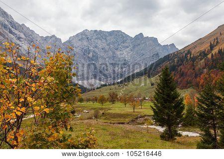 Autumn mountain landscape in the Alps near Engalm. Austria Tirol.