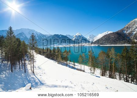 Winter landscape with beautiful mountain lake in the Alps, Achensee, Austria
