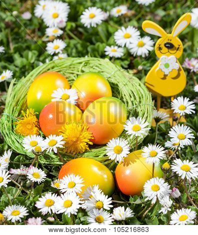 Easter eggs on flowers field