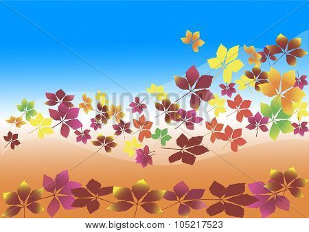 autumn leaves flying in the wind, background