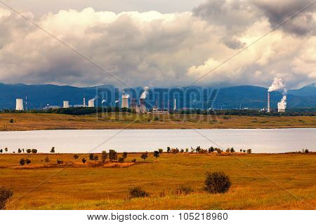 Thermal power station in Czech Republic,in the foreground the lake