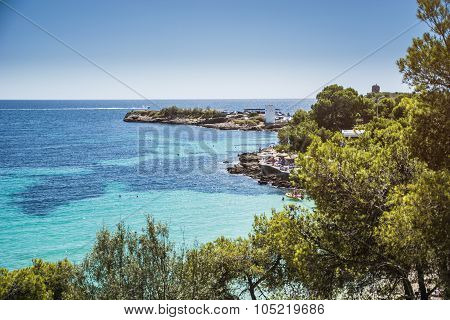 Isolated Beach and Rocky Coast, Ibiza, Spain