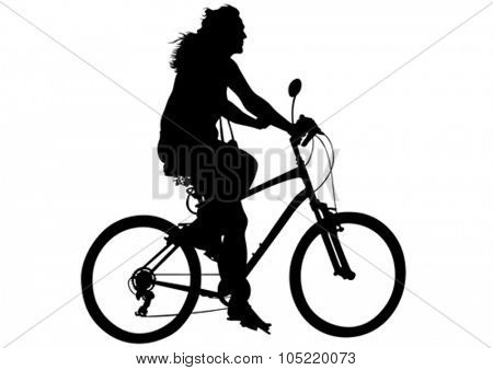Sport women whit bike on white background