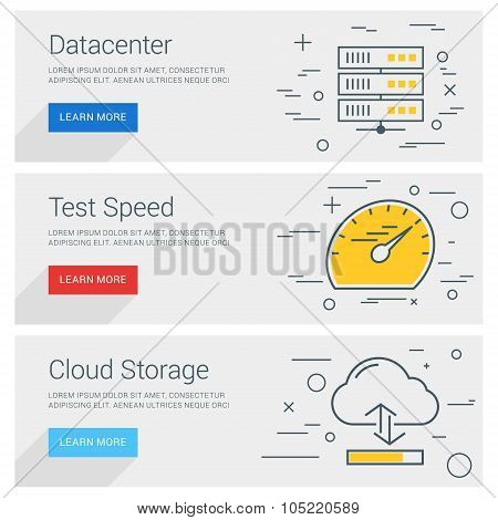 Datacenter. Test Speed. Cloud Storage. Line Art Flat Design Illustration. Vector Web Banners Concept