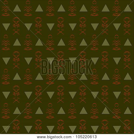 Seamless abstract dark green, khaki, orange background