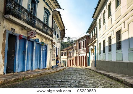 OURO PRETO, BRAZIL - CIRCA OCTOBER 2015: Antique houses in Ouro Preto, Minas Gerais, Brazil