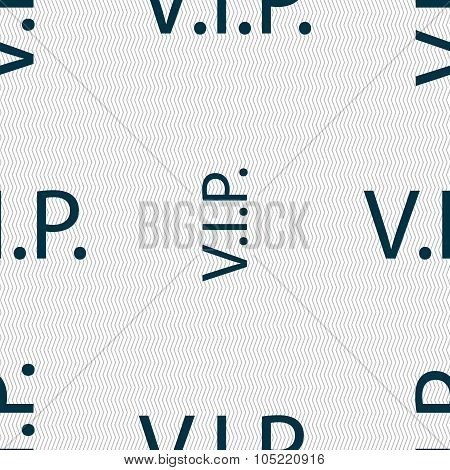 Vip Sign Icon. Membership Symbol. Very Important Person. Seamless Abstract Background With