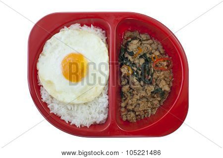 Chicken Sauteed With Garlic And Hot Basil Set On Steamed Rice With Fried Egg